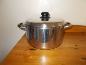 PRESTIGE HEAVY LARGE STAINLESS STEEL  5.7 L / 6 QT STOCK POT / JAM PAN WITH LID