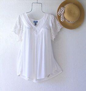 New~White Eyelet Lace Peasant Blouse Shirt Spring Boho Top~Size Large L