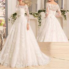 Neu lange Ärmel Spitze Brautkleider Hochzeitskleid Ballkleid Gr32/34/36/38/40/42