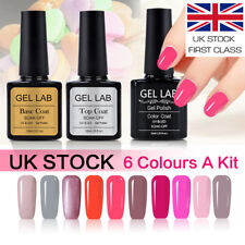 Gel Lab/Blue Velvet 6 Colors Set UV LED Gel Nail Polish Top Base Coat UK Stock