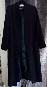 Helene Berman Edge To Edge Long Navy Fully Lined Coat With Pockets Free P/P