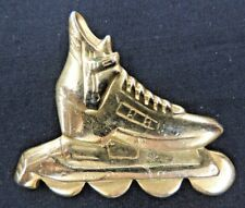 Vintage All Goldtone Roller Blade Brooch Pin Sports Derby Skating Entertainment