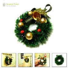 1/12 Doll House Miniature Christmas Door Wreath Garland Bell Ornament Home Decor