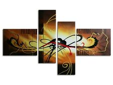Original Canvas Oil Painting Abstract Pictures Home Decor Wall Art Brown Framed