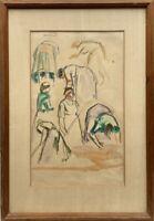 Studie Skizze Aquarell Frauen in der Bewegung signiert 56 x 39 cm Expressiv