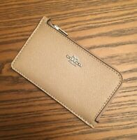 COACH Coated Canvas Signature Zip Card Case Taupe/Sliver Brand New!!