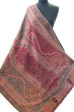 "Red Wool Jamavar Floral Paisley Shawl Kani Gold Pashmina 85""x 42""  Moghul Theme"