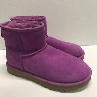 UGG Classic Mini II Boots Womens Size 8 Pink Bodacious 1016222 Sheepskin Suede