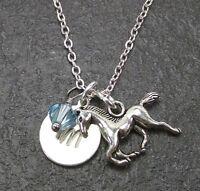 Personalized Horse Necklace Custom Initial with Swarovski Birthstone Crystal