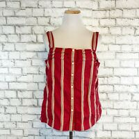 Tommy Hilfiger Women's Red Plaid Striped Vintage 90s Tank Top Shirt Size Large
