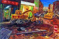 CONSTRUCTION ON BLEEKER ST Arthur Robins Original OIL Painting New York Artist