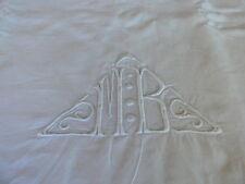 ancien drap en fil brodé main monogramme MB avec retour