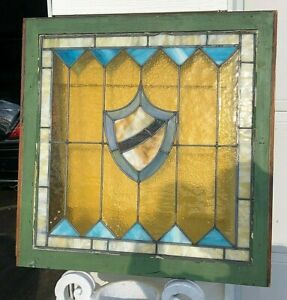 "Authentic 1880 Antique Victorian Stained Glass Window 28"" x 28"" STUNNING!"