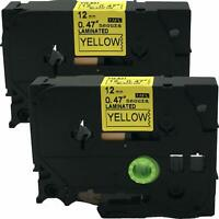 2PK Compatible Brother P-Touch TZe-631 TZe 631 Black on Yellow Label Tape 12mm