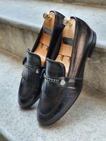 Mocassins en cuir noir véritable pour hommes faits à la main
