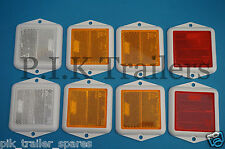 FREE P&P* 8 x Square Screw on Type Reflector Set 70mm Clear Amber Red - Trailer