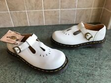 Bnwt! England Dr. Martens White Leather T-Bar Flat Shoes Sz3, EU36