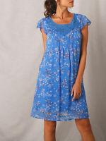 New Size 8,10,12,16,22 Pretty Blue Floral Print Short Sleeve Pintuck Dress (b6)