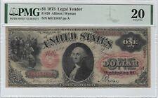 $1 1875 Legal Tender (Sawhorse), FR#26, PMG 20