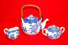 Unmarked Vintage TEAPOT, CREAMER & SUGAR BOWL SET (White & Blue) (#S8330)