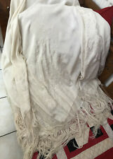 Vintage Antique Ivory Cream Silk Floral Embroidery Fringed Wrap Piano Shawl