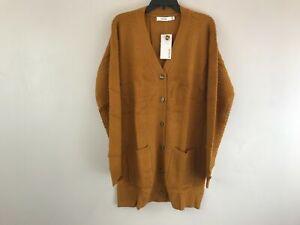 Women's Justfab Boxy Long Sleeve Button Up Cardigan - Size XXL - Orange