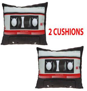 Retro Cassette Cushion Novelty Cushions 30cm x 45cm Tape Audio Pillow Plush