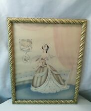 Vtg Southern Bell Crinoline Lady Airbrush Cottage Pink chic framed picture print