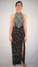 Vintage 80's 90's Heavily Beaded Black Silk Formal Dress Evening Gown - Medium