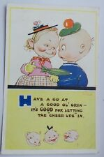 """ORIGINAL MABEL LUCIE ATTWELL POSTCARD 622 """"HAVE A GO AT A GOOD OL' GRIN"""" 1951"""