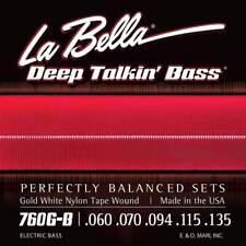 La Bella 760G-B Gold White Nylon Tape Wound Bass Guitar Strings - Standard - 5-S