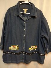 Bechamel Woman 3x Denim Embroidered School Bus Shirt 3/4 Sleeves Teacher Blouse