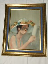 M Weston Young Girl in Hat Original Oil Painting