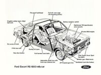 FORD ESCORT RS1800 RALLY CAR CUTAWAY RETRO POSTER PRINT CLASSIC 80's ADVERT A3