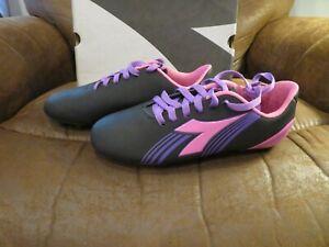 NWT Womens Black, Pink & Purple Diadora Avanti Soccer Cleats, 6