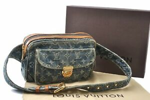 Autentic Louis Vuitton Monogram Denim Bum Bag Waist Bag Blue M95347 Box LV C7445