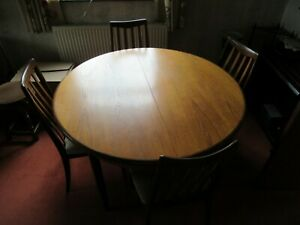 Vintage 1970's G PLAN 48 inch Extending Round Table With 4 Chairs - VGC