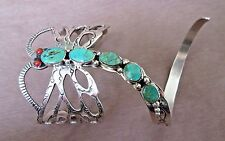 Navajo Unique Sterling & Turquoise Dragonfly Cuff Bracelet by Russell Sam JB0087