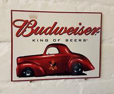 Budweiser Bière Grande Rétro en Métal Aluminium Signe Vintag. Pub Bar Bière Signes Grotte