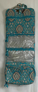VERA BRADLEY Totally Turquoise Hanging Cosmetic Jewelry Travel Organizer Case