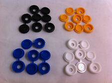 16 Pack PLASTICA NYLON Hinged Screw COVER CAPS FLIP TOP BIANCO NERO BLU GIALLO