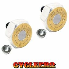 2 Silver Hex Billet License Plate Frame Tag Bolts for Harley - 45 AUTO BULLET BR