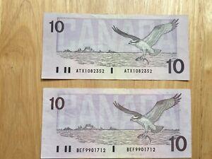 Bank of Canada  2X $10  ATX1082352 Theissen/Crow BEF9901712 Knight/Theissen