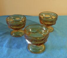 3 Fairfield Anchor Hocking Amber Glass Thumbprint Sherbet Dessert Ice Cream Bowl