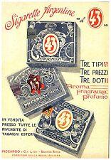 PUBBLICITA' 1917 SIGARETTE ARGENTINE EL 43 TIPI PICCARDO FUMO TABACCO AROMA BAR