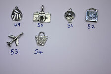 6 Wine Glass Charm Rings YOU CHOOSE CHARMS & COLOUR with Swarovski Crystals