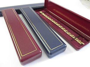 6 x Long Classic Jewellery Gift Box-Watch/Bracelet  N Blue Burgundy Ivory-A36