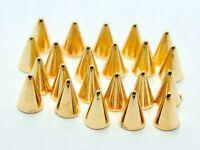 200 Gold Metallic Rock Punk Acrylic Spike Rivet Tiny Stud 4X6mm No Hole FlatBack