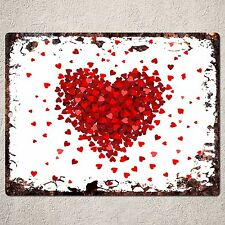 PP0107 Rustic Red Heart Valentine's Day Gift Parking  Plate Home Cafe Decor Sign