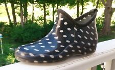 Capelli Black /White Sz 10  Polka Dot Raindrop Rain Ankle Boots Wellies